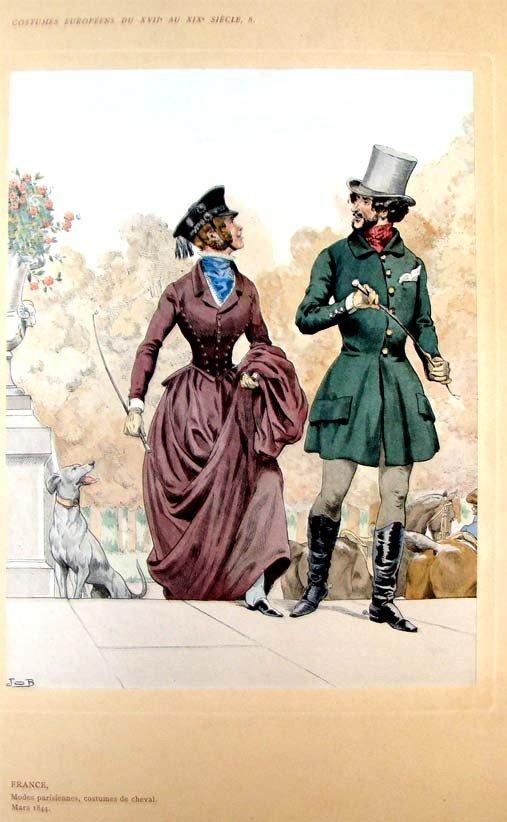 1844 Color Litho Modes parisiennes, Costumes de Cheval