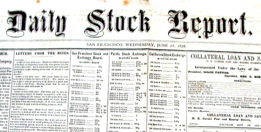 Daily Stock Report San Francisco Newspaper June 28 1876