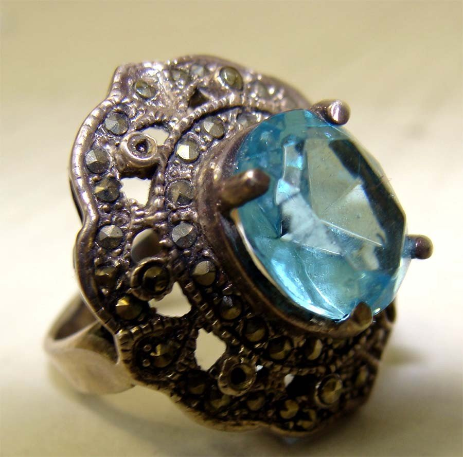 Sterling Silver Marquesite Ring with Aqua Blue Stone