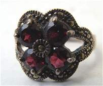 Sterling Silver Marquesite Ring w 4 Ruby Red Stones