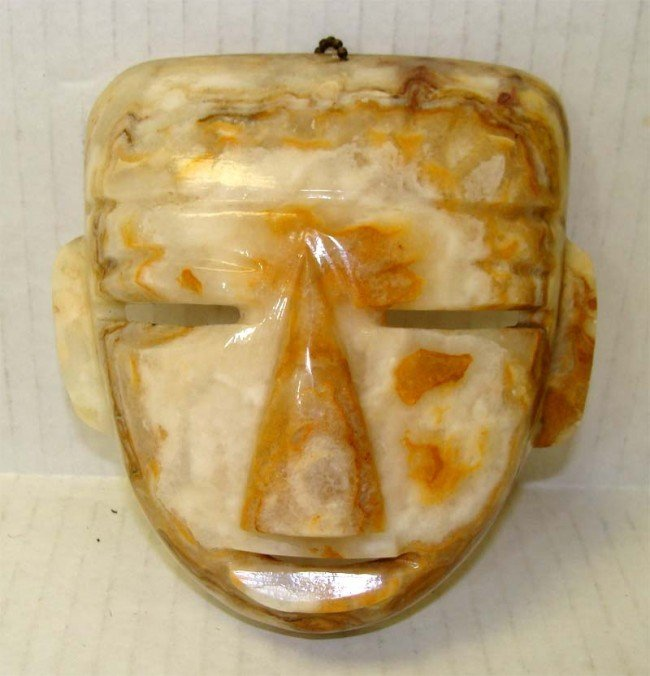 Carved Onyx Inca Indian Warrior Mask