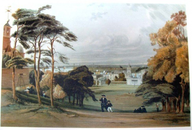 London from Greenwich 1842 Shotter Boys color litho