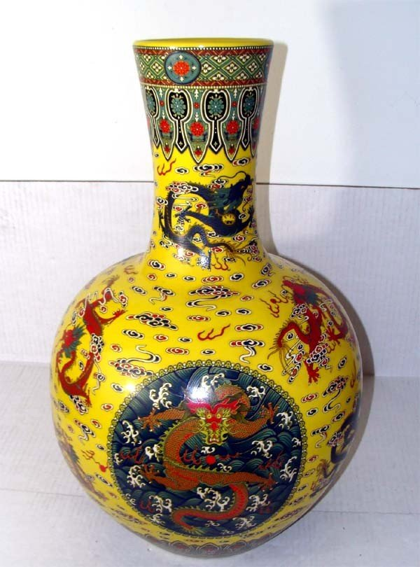 Large Yellow Antique Chinese Dragon Vase Qing Dynasty