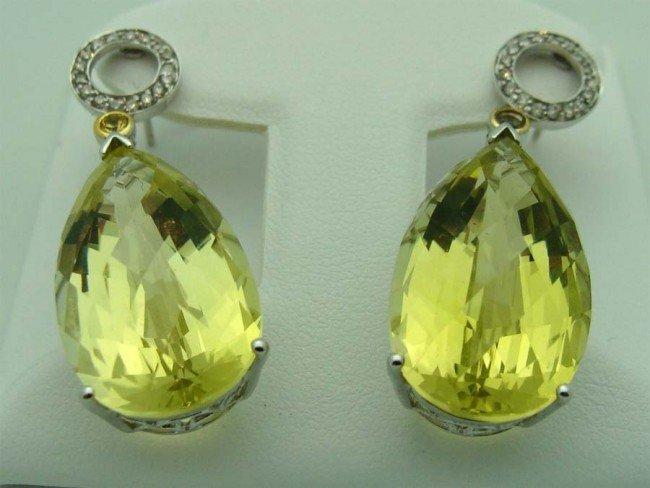 Lemon Yellow Quartz Drop 18k Earrings .30 Ct Diamonds