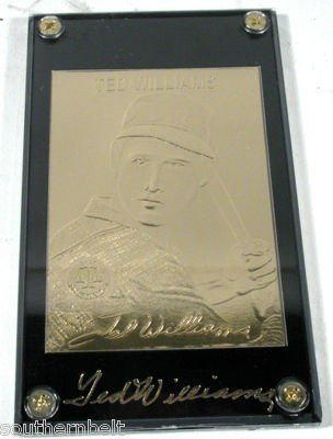 22k Gold Baseball Cards Ted Williams, Gehrig,  Babe Rut