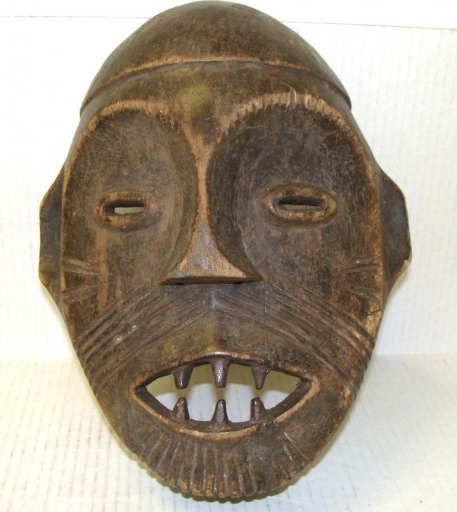 "Old Antique African Carved Wood Mask 13"""
