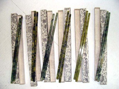 Set Of Six Pairs Carved Jade Stone Chopsticks