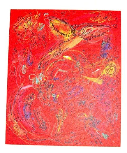 Chagall Verve Print Angel in Red (Untitled)