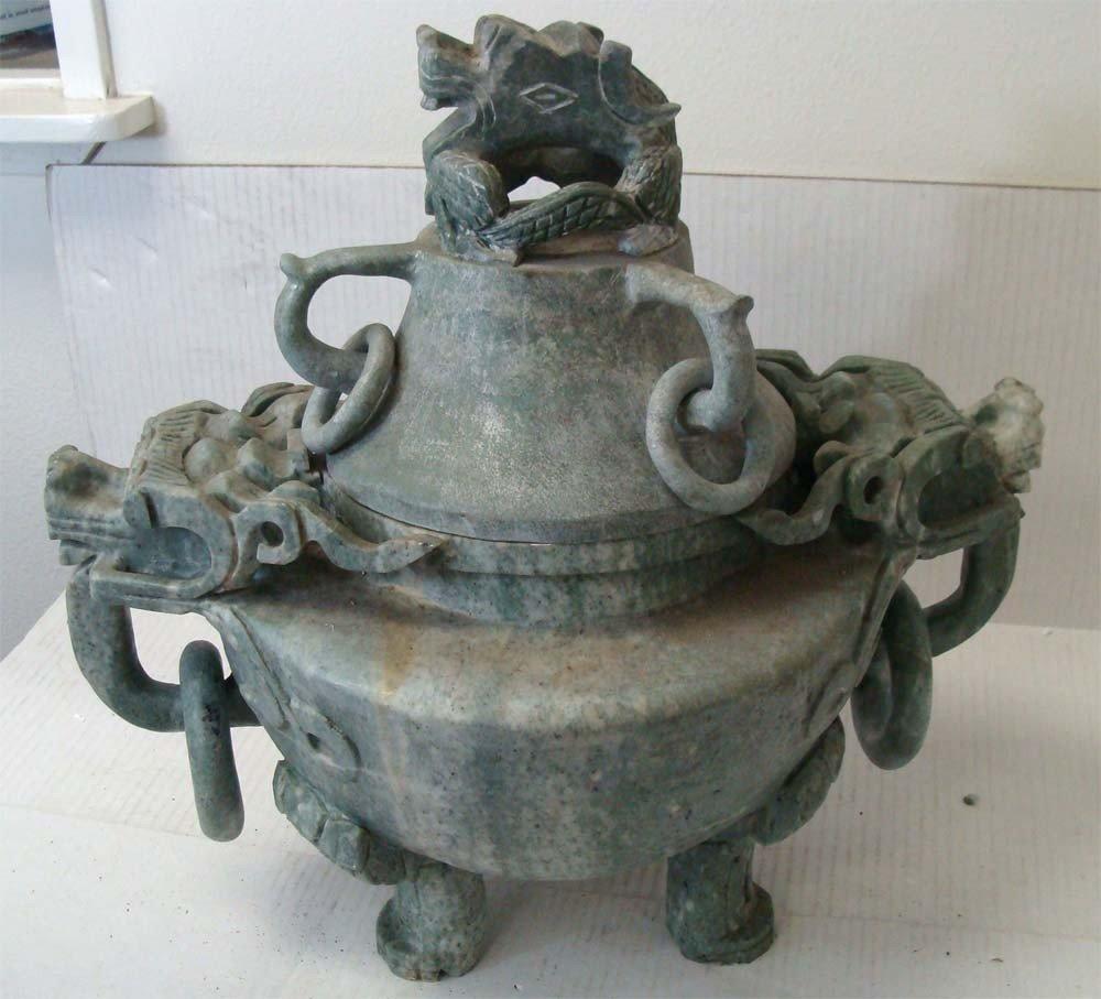 "Large Jade Stone Incense Burner Three Fu Dogs 20"""
