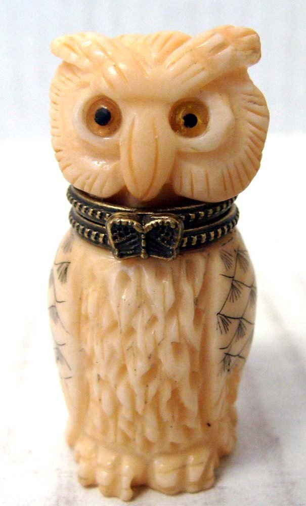 """Chinese Carved Bone Owl Nuff Bottle Hinged Head 2"""" Tall"""