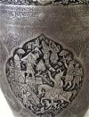 Pair Persian Antique Silver Metal Vases Engraved Signed