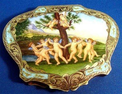 Enamel .800 Silver Compact Cupids Dancing Around Tree