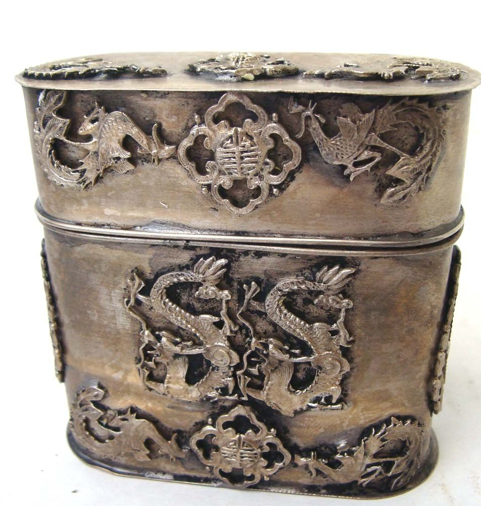 Nepalese Ornate Dragon Silver Metal Box With Lid