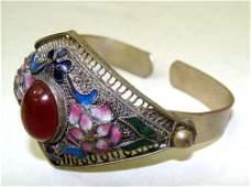 Nepalese Silver Metal Cloissone Enamel Bracelet