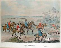 The Meeting Hand Color Engraving by Henry Alken 1841