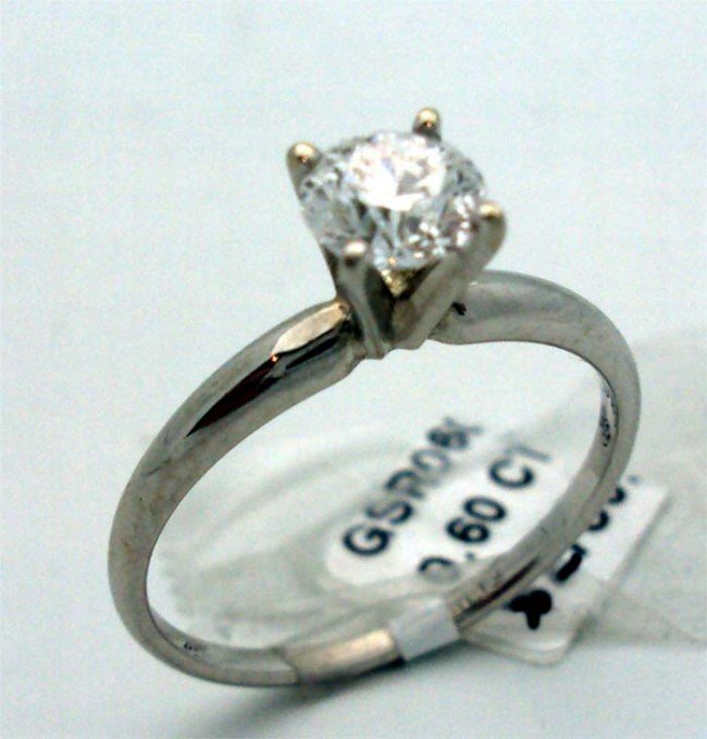 G-H Color Diamond Solitaire Ring 14k White Gold .60ctw