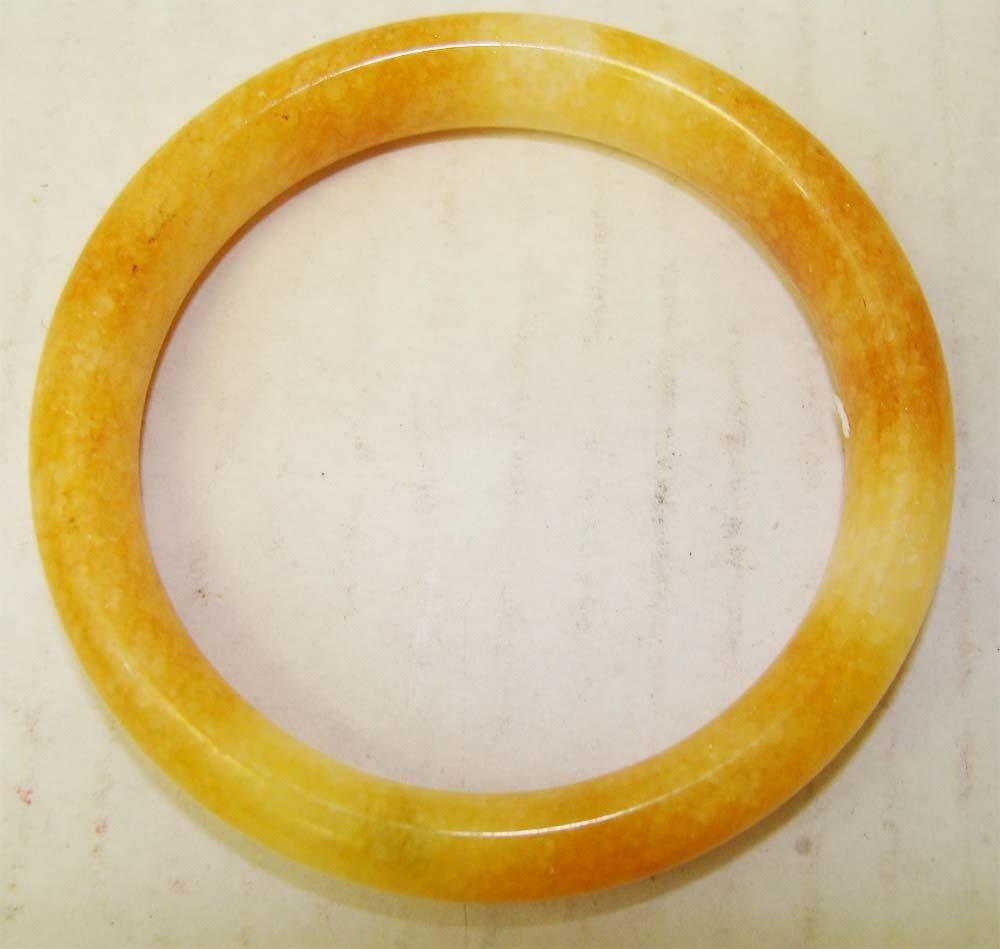 One Chinese Yellow Stone Carved Bangle Bracelet
