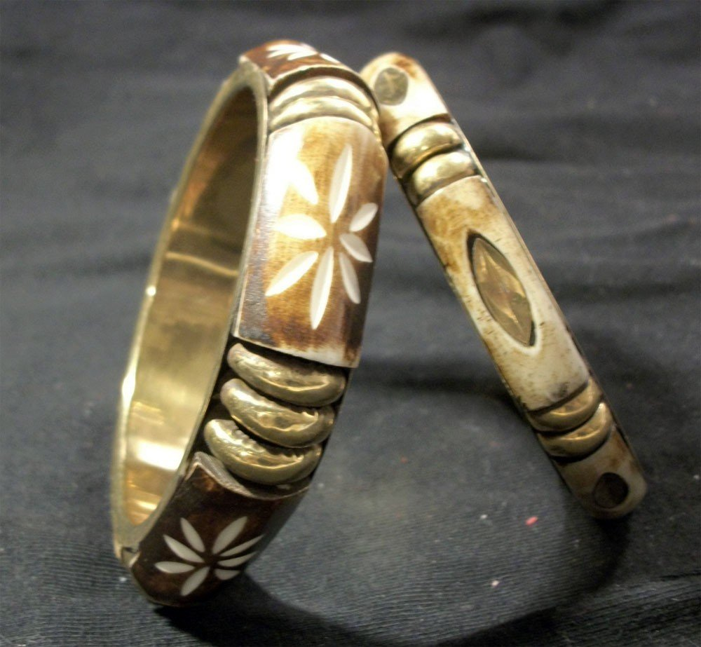 2 antique etched GOLD AND IVORY BRACELETS