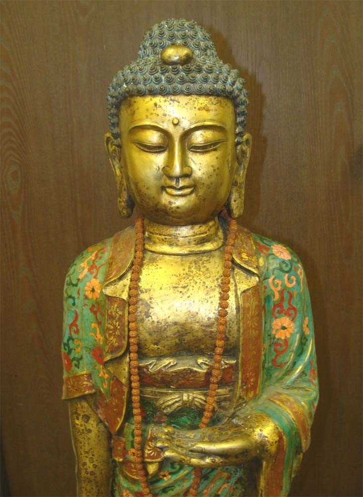 """Antique Chinese Kwan Yin Copper & Metal Statue 47"""" Tall"""