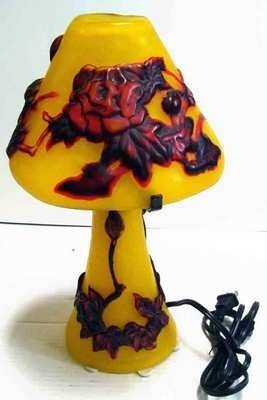 "Galle Inspired Yellow and Red Art Glass Lamp 15"" Tall"