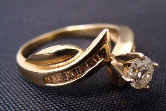 Diamond Engagement Ring 14k Gold .45 CTW Dia Color H