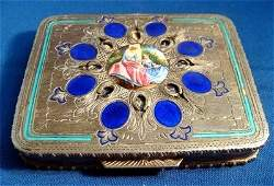 Enamel Silver Compact Blue Inlays Two Ladies under Tree
