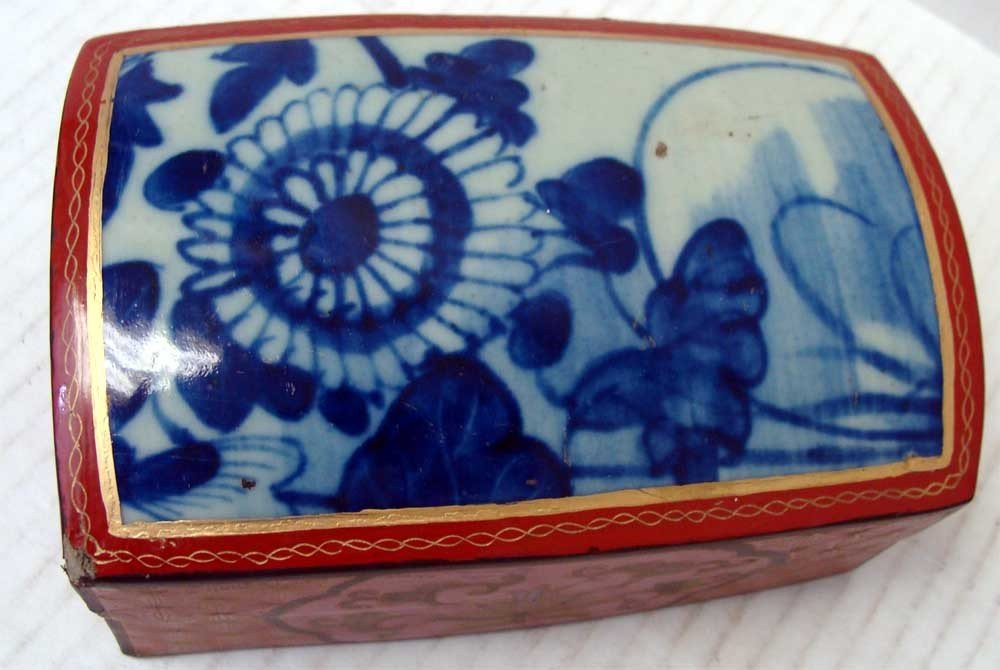 Chinese Porcelain Blue & White Red Lacquer Box Floral