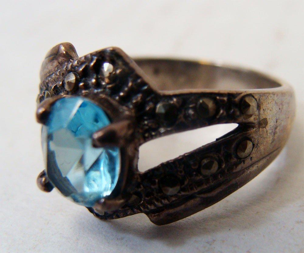 Sterling Silver Marquesite Ring w Aqua Blue Stone