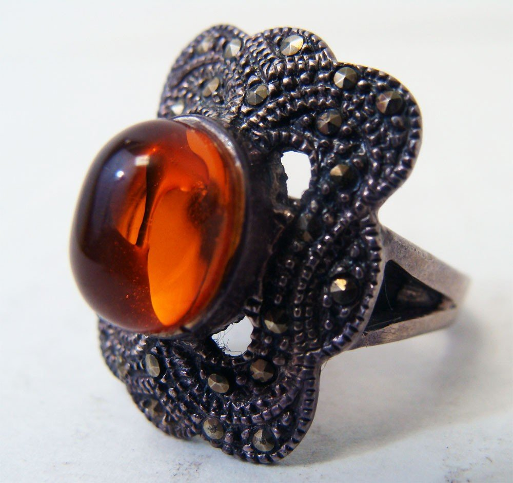 Sterling Silver Marquesite Ring w Opal Color Cabachon
