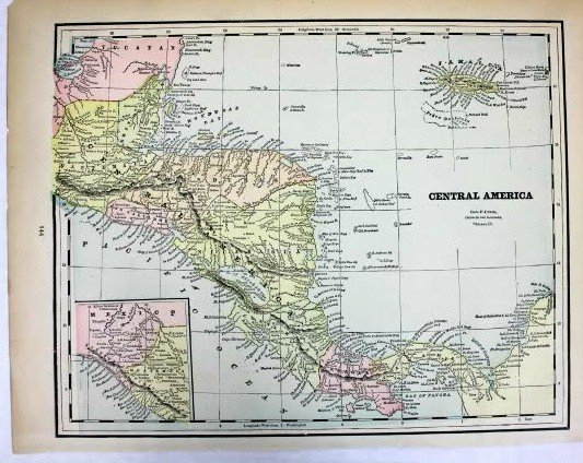 Mexico Cuba & Central America Colored Map 1898