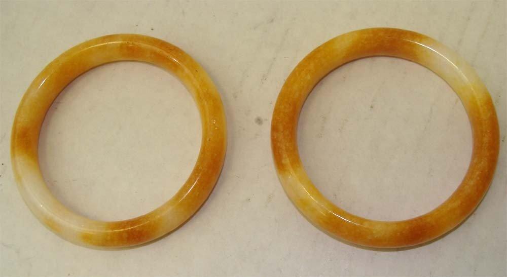 Two Chinese Orange & White Stone Bangle Bracelets