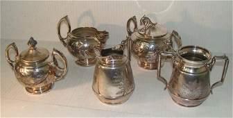 5 Piece Antique Set Tea Pot With Engraving