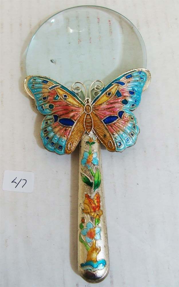 Exquisite Chinese Butterfly Cloissone Magnifying Glass