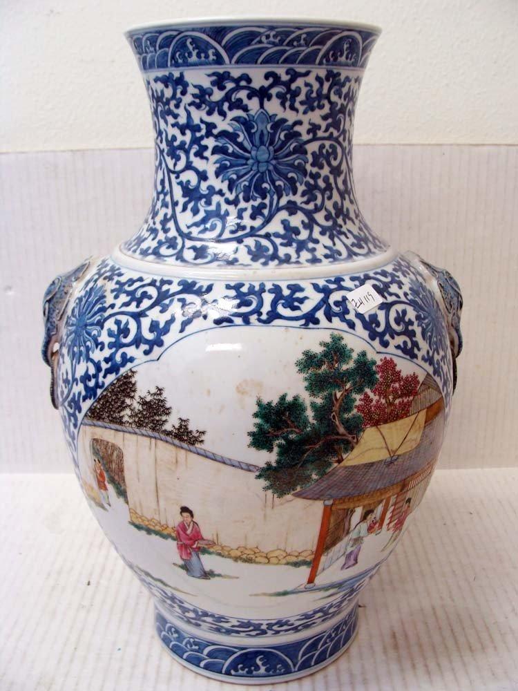 "Chinese Porcelain Vase 15"" Tall Dragon Head Handles"