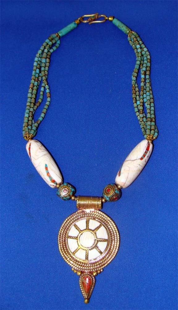 Naga Conch Shell Tibetan Turquoise Pendant Necklace