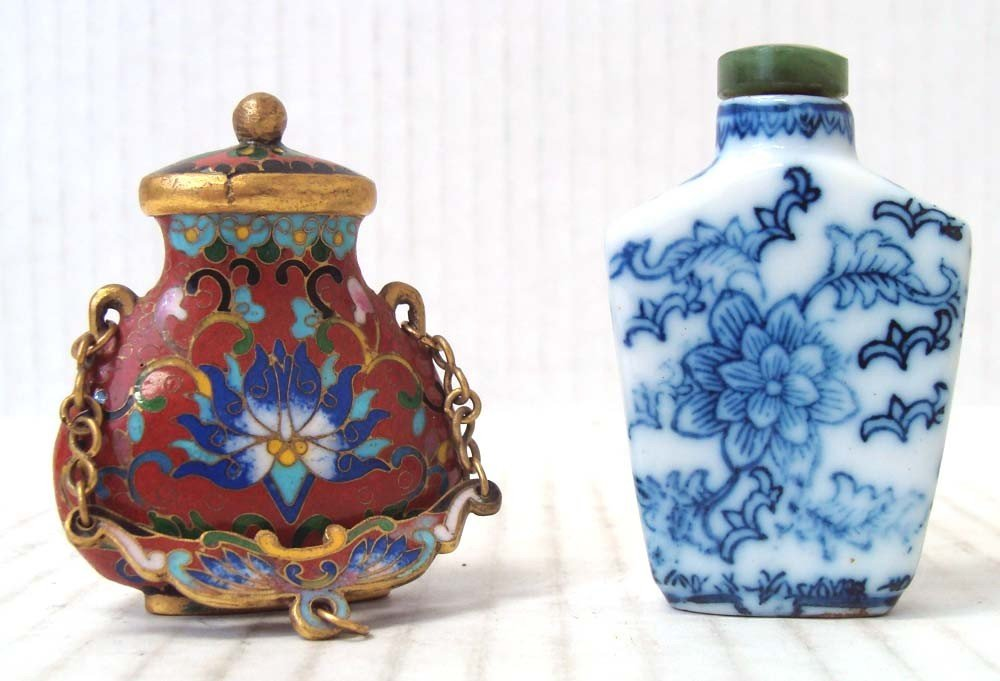 2 Chinese Antique Snuff Bottles Cloissone & Porcelain