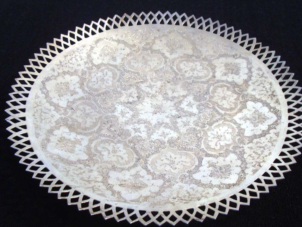Antique Persian Silver Platter with Etched Pattern Rim