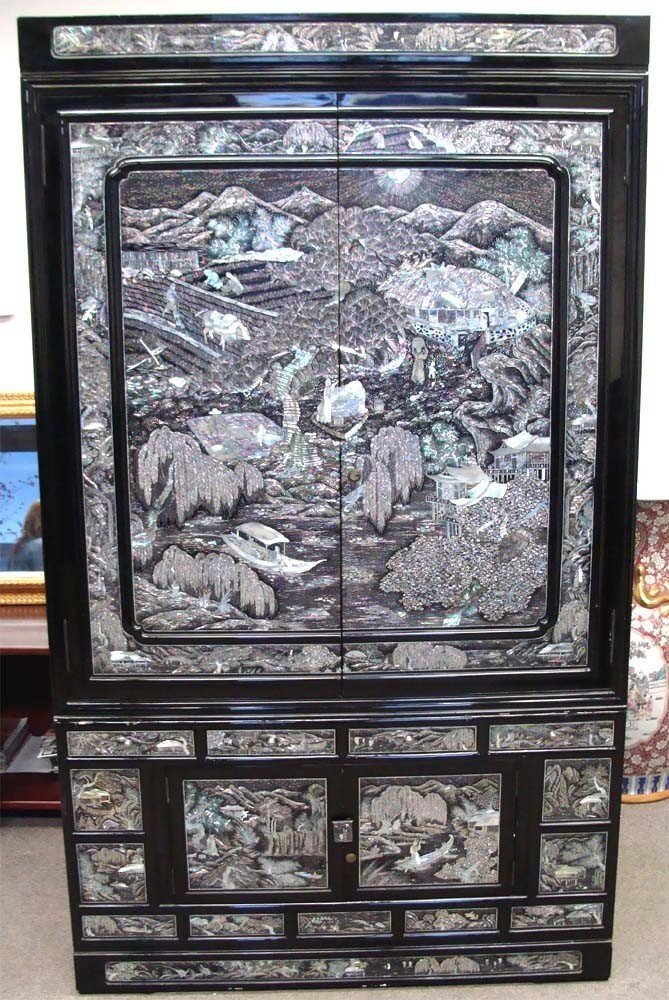 Chinese Mother Of Pearl Inlaid High Chest Black Lacquer