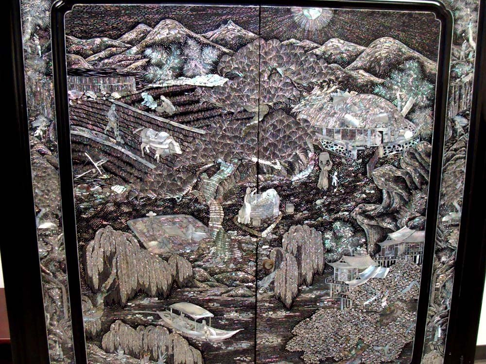 Chinese Mother Of Pearl Inlaid High Chest Black Lacquer - 4