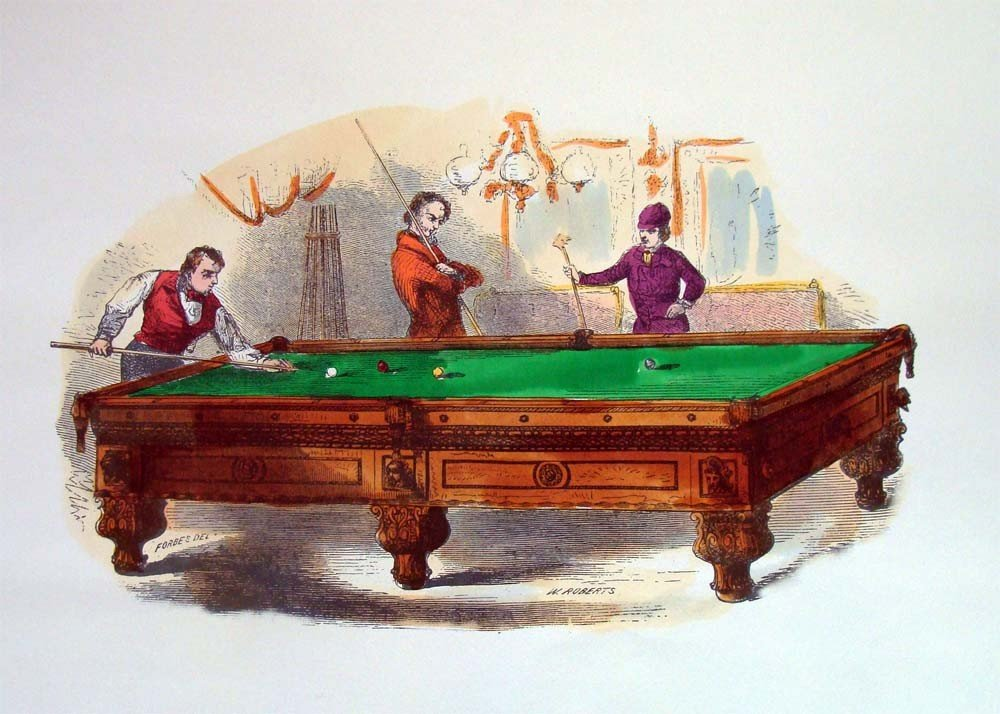 Forbes Vs W Roberts Billiards Match 19th C Lithograph