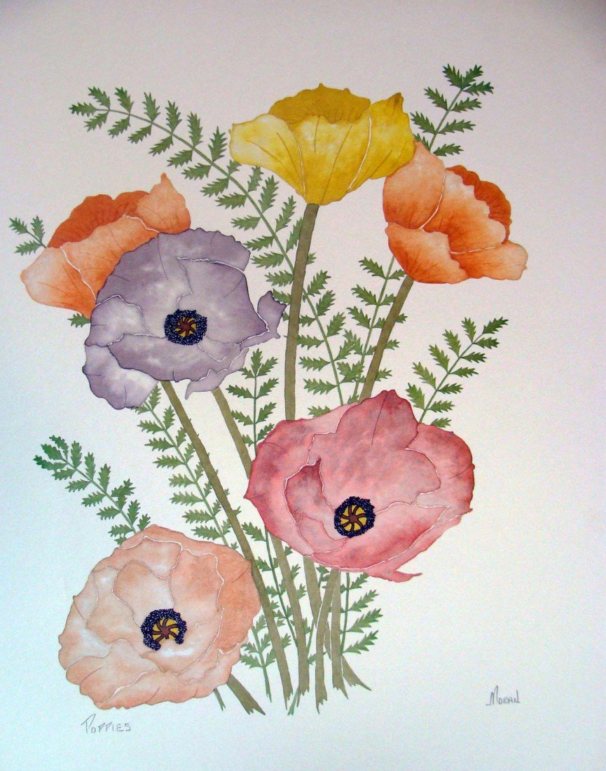 "Poppies by Moran Color Lithograph 1980 25"" by 19"""