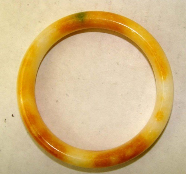 One Chinese Orange & White Stone Bangle Bracelet