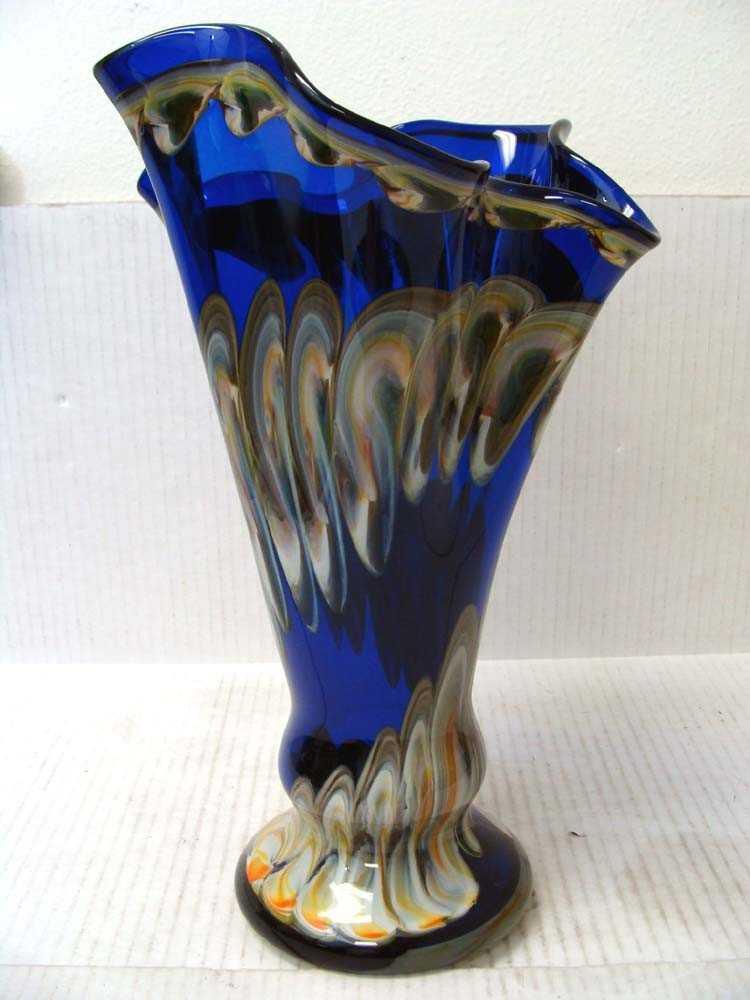 Hand Blown Glass Vase By Krosno Jozefina Of Poland