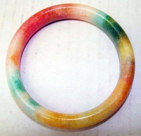 One Chinese Multicolor Stone Carved Bangle Bracelet