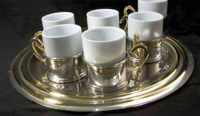 Devon Silver Tea Set with Silver & Gold Tray + 6 Cups