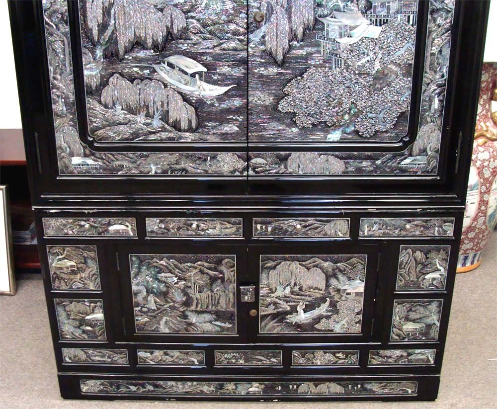 Mother Of Pearl Inlaid High Chest Black Lacquer Korean - 2