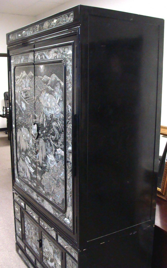 Mother Of Pearl Inlaid High Chest Black Lacquer Korean - 3