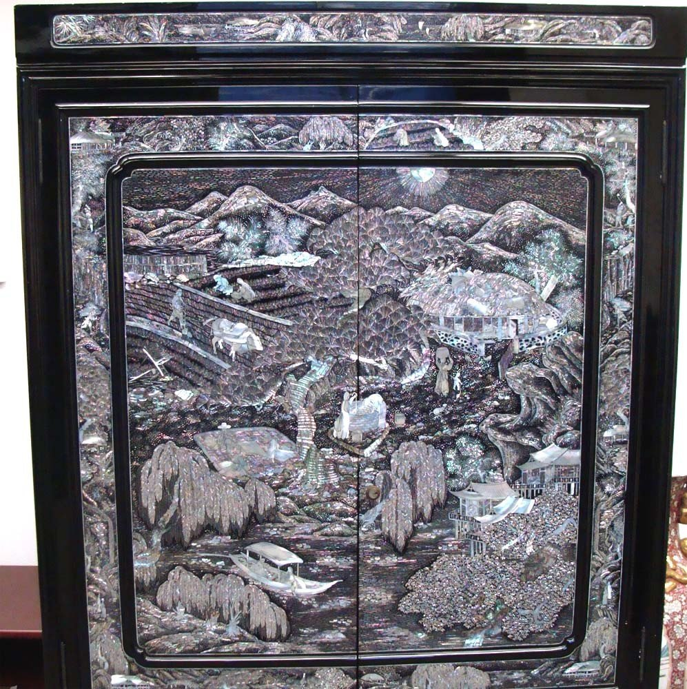 Mother Of Pearl Inlaid High Chest Black Lacquer Korean - 7