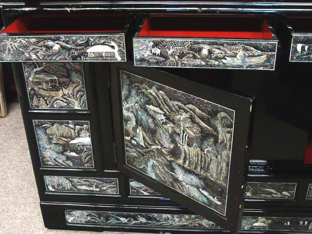 Mother Of Pearl Inlaid High Chest Black Lacquer Korean - 8