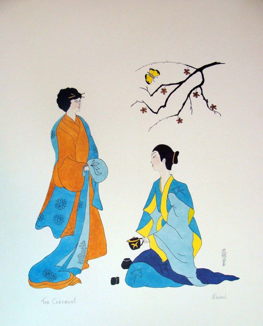 "Tea Ceremony by Moran Color Lithograph 1980 25"" by 19"""
